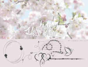 简单小清新的春天花纹图案PS笔刷素材