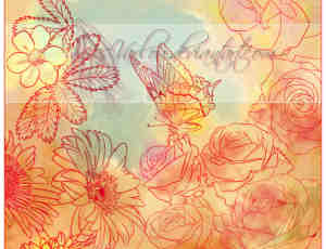 PS线稿鸟语花香花纹图案、手绘线框蝴蝶与花朵PS印花笔刷