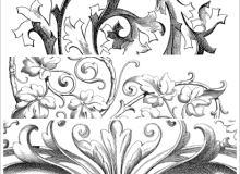 手绘西欧花朵、欧式花朵图案PS笔刷(PNG图片格式)