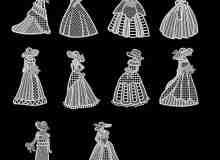 十字绣、刺绣式欧洲小女人图案、贵族女人Photoshop笔刷素材