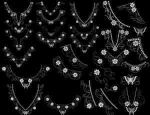 十字绣式蝴蝶花纹项链形状笔刷PS素材下载