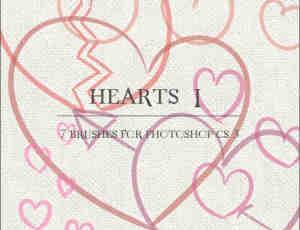 漂亮的涂鸦爱心图案Photoshop形心爱情笔刷