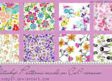 漂亮的艺鲜花花朵图案Photoshop图案底纹素材.pat