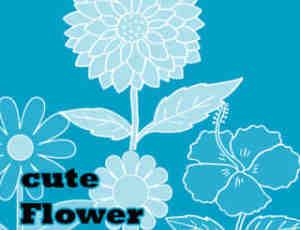 可爱的鲜花图案、花朵花纹Photoshop笔刷素材