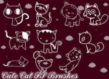 卡哇伊呆萌猫咪PS卡通猫图案笔刷