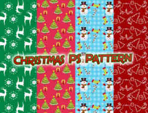 漂亮的可爱体的圣诞节装扮元素Photoshop填充印花底纹pat