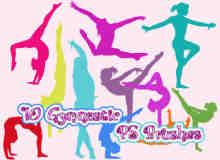 运动健身女性剪影、韵律体操动作剪影图形PS笔刷下载