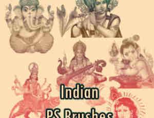 印度佛教文化元素图形PS笔刷素材下载