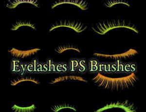 漂亮绚丽的眼睫毛Photoshop女性化妆笔刷素材
