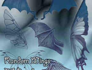 蝙蝠恶魔翅膀、天使的翅膀羽翼、昆虫蝴蝶的翅膀PS笔刷素材