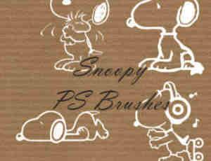 可爱的史努比卡通狗狗Photoshop笔刷素材下载