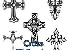 花式十字架图案、欧式圣十字架花纹PS笔刷素材