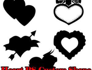 非主流时尚爱心、心形图案Photoshop自定义形状素材 .csh 下载