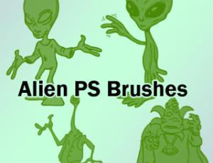 外星人卡通图案Photoshop笔刷素材下载