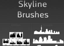 城市建筑背景剪影图案Photoshop笔刷素材下载