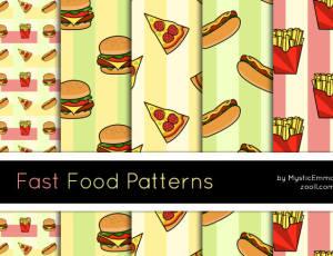 卡哇伊汉堡包、薯条、披萨背景图案Photoshop填充图案文件底纹素材 .pat 下载