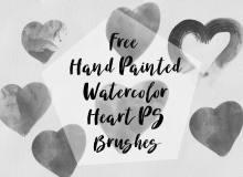 涂鸦式毛刷爱心、手绘刷子爱心Photoshop笔刷素材下载