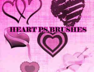 爱心、心形图案、情人节爱心装饰Photoshop笔刷素材