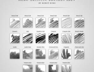 Photoshop手绘画笔笔触多种铅笔、蜡笔类型笔刷素材下载