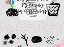 水彩、水墨画笔系列PS笔刷素材下载