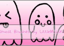 可爱卡哇伊的小幽灵、小鬼怪图案PS笔刷素材下载