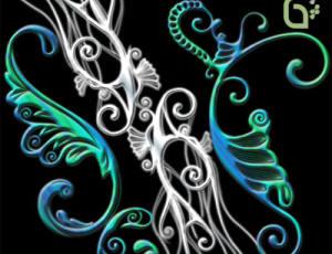 超酷的植物花纹刺青、印花纹身图案PS笔刷素材下载