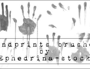恐怖血手印、手掌、掌纹图案PS笔刷素材