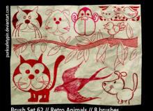 可爱卡哇伊卡通涂鸦猫咪、猴子、小狗、小鸟、燕子等PS童趣笔刷