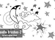 童趣手绘星星、月亮、云朵图案PS笔刷素材下载