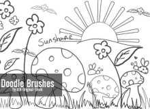 超级可爱童趣涂鸦、幼稚呆萌的手绘蘑菇、鲜花、青草、太阳PS笔刷图案素材