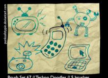 可爱童趣电视机、手机、机器人、照相机、电脑PS卡通涂鸦笔刷素材下载