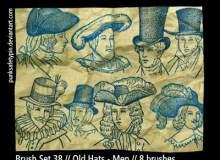手绘欧洲中世纪贵族人物肖像图案PS笔刷素材下载