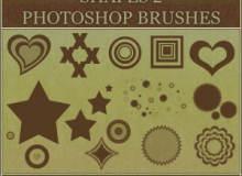 爱心、心形、同心圆、无限方框、星星等图案PS装饰笔刷