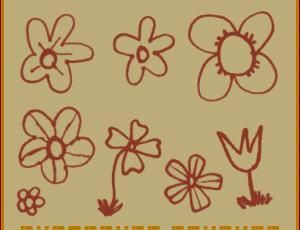 童趣手绘涂鸦鲜花、小红花图案PS笔刷素材下载