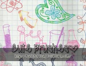 幼稚风格的手绘涂鸦学校元素Photoshop可爱图案笔刷