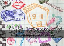 可爱童趣卡哇伊PS生活元素手绘涂鸦素材笔刷