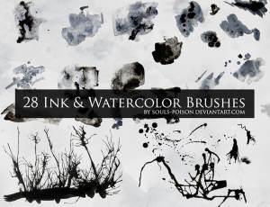 28种水墨痕迹Photoshop墨水水彩笔刷素材
