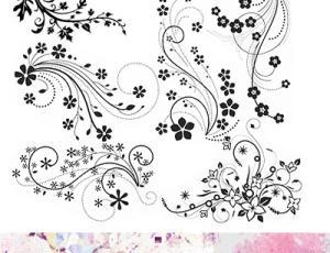 漂亮的手绘鲜花艺术图案PS花纹笔刷