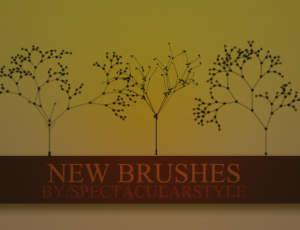 漂亮的植物枝条花纹艺术PS笔刷素材下载