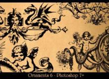 西欧手绘神话系列图案PS笔刷素材下载
