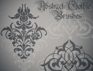 漂亮欧式印花、植物花纹图案、墙壁花纹PS笔刷素材下载