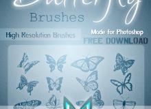 漂亮的蝴蝶剪影图案、蝴蝶花纹印记PS笔刷素材下载