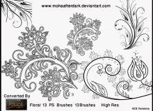 漂亮的精美手绘艺术花纹、印花图案PS笔刷下载