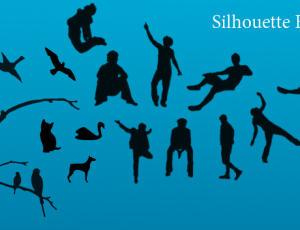 运动的人物、人像、树枝、小鸟轮廓剪影图形PS笔刷下载