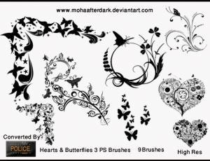 漂亮优美的艺术系植物花朵、蝴蝶印花图案PS笔刷下载