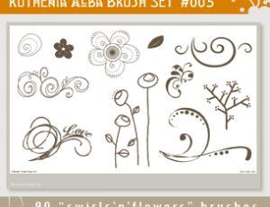 可爱童趣花纹、印花图案PS笔刷涂鸦素材