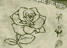 玫瑰花花朵图案、花纹印花笔刷PS素材下载