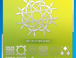 穆斯林、伊斯兰教式民族花纹图案PS笔刷素材下载
