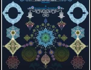 70种伊斯兰阿拉伯式民族花纹图案PS笔刷素材下载