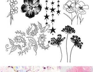 漂亮的手绘鲜花、印花图案效果PS笔刷素材下载